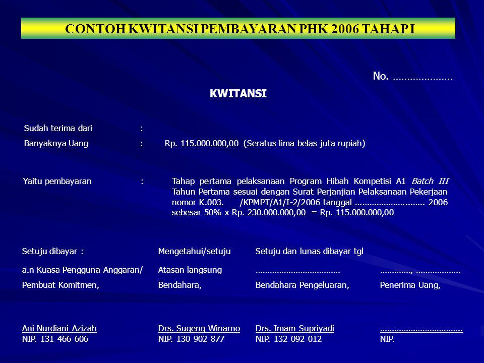 CONTOH KWITANSI PEMBAYARAN PHK 2006 TAHAP I