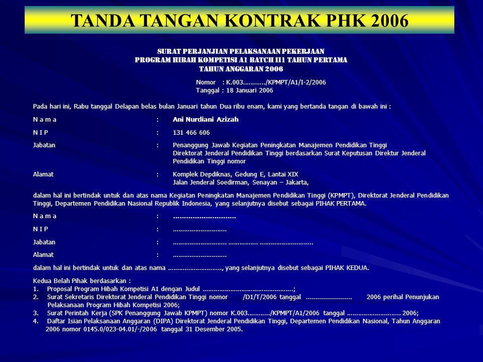 TANDA TANGAN KONTRAK PHK 2006
