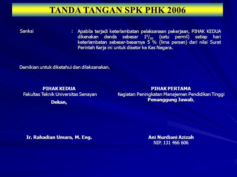 TANDA TANGAN SPK PHK 2006 Sanksi :