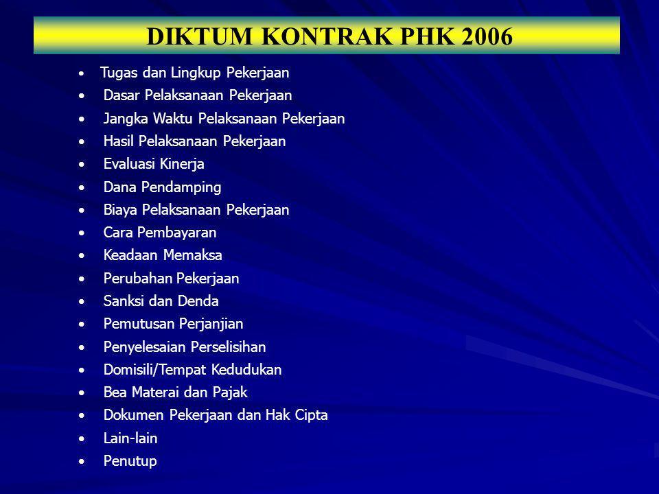 DIKTUM KONTRAK PHK 2006 Dasar Pelaksanaan Pekerjaan