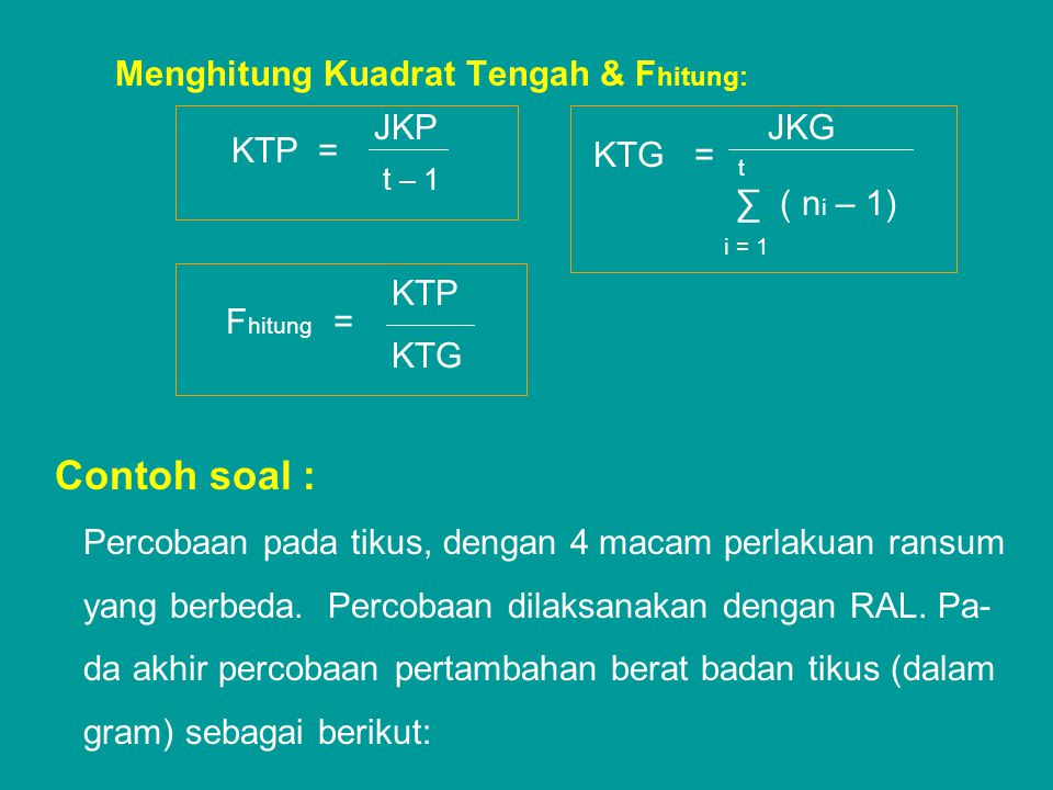 Menghitung Kuadrat Tengah & Fhitung:
