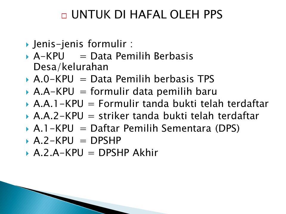 UNTUK DI HAFAL OLEH PPS Jenis-jenis formulir :