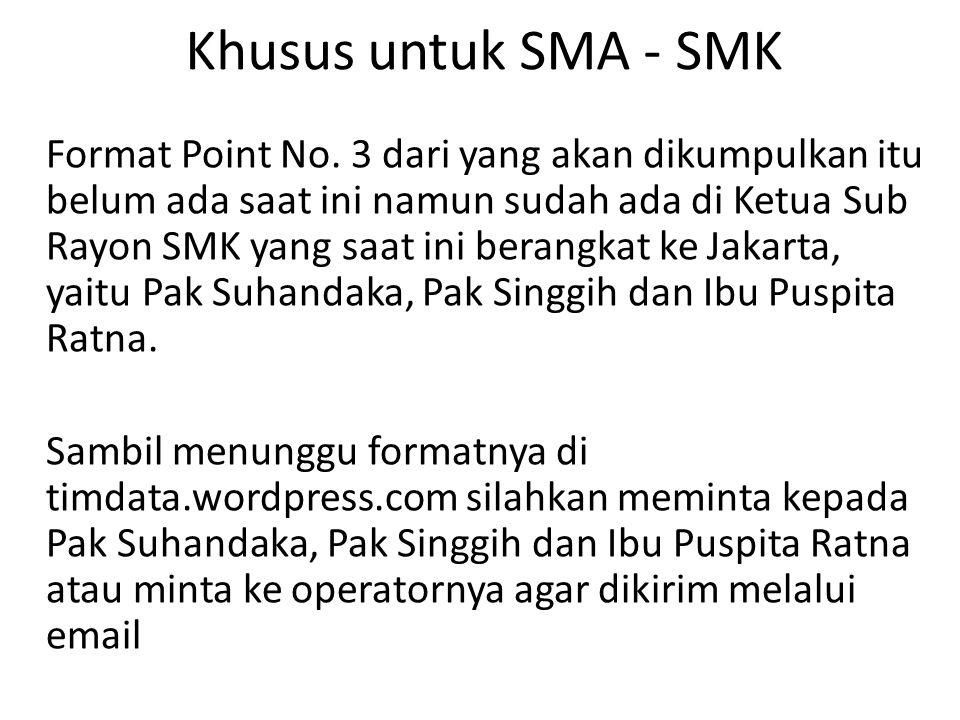 Khusus untuk SMA - SMK