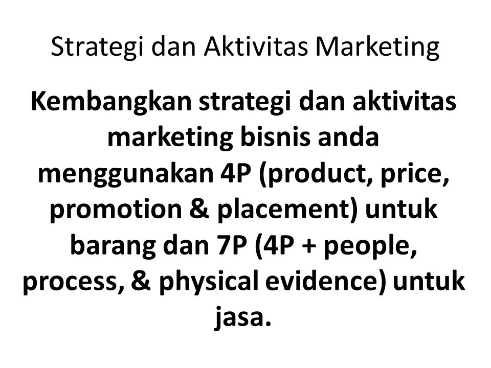 Strategi dan Aktivitas Marketing