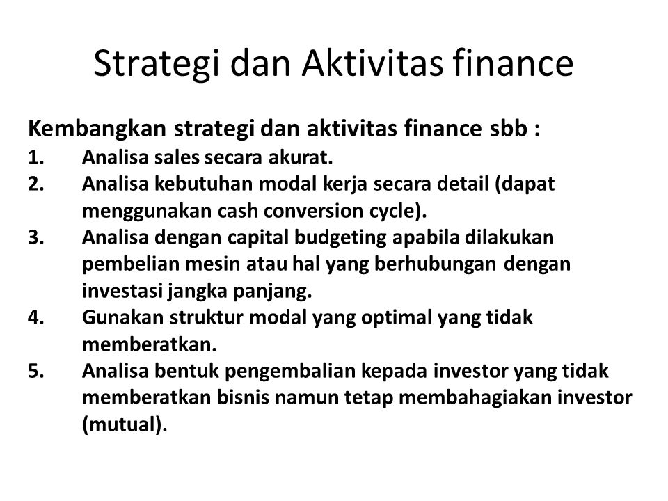 Strategi dan Aktivitas finance