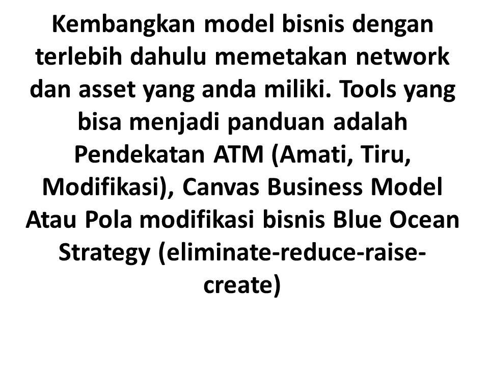 Kembangkan model bisnis dengan terlebih dahulu memetakan network dan asset yang anda miliki.