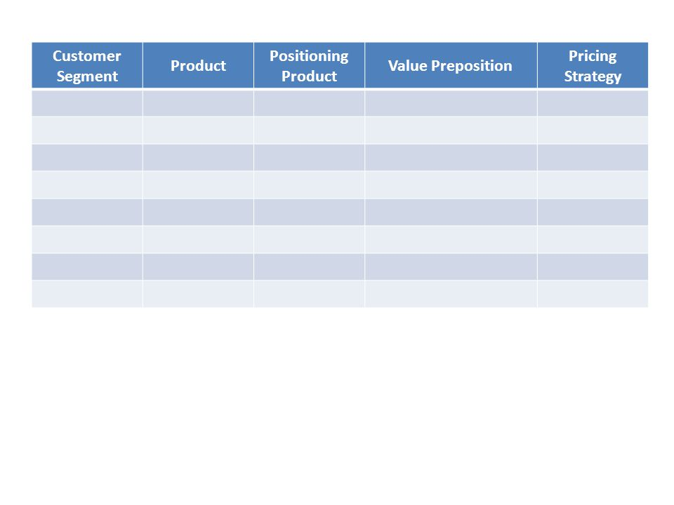 Customer Segment Product Positioning Product Value Preposition Pricing Strategy Laundry