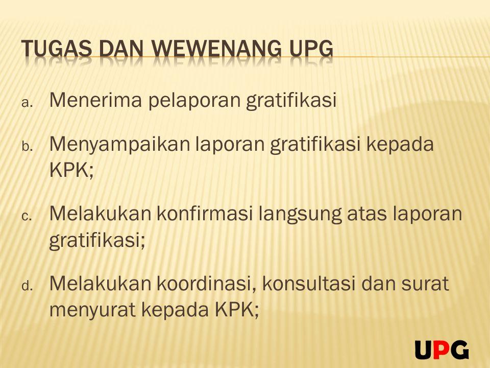UPG Tugas dan Wewenang UPG Menerima pelaporan gratifikasi