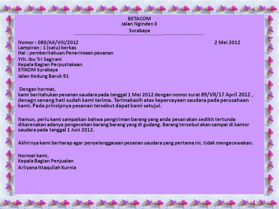 Yth. Ibu Tri Sagirani Kepala Bagian Perpustakaan STIKOM Surabaya