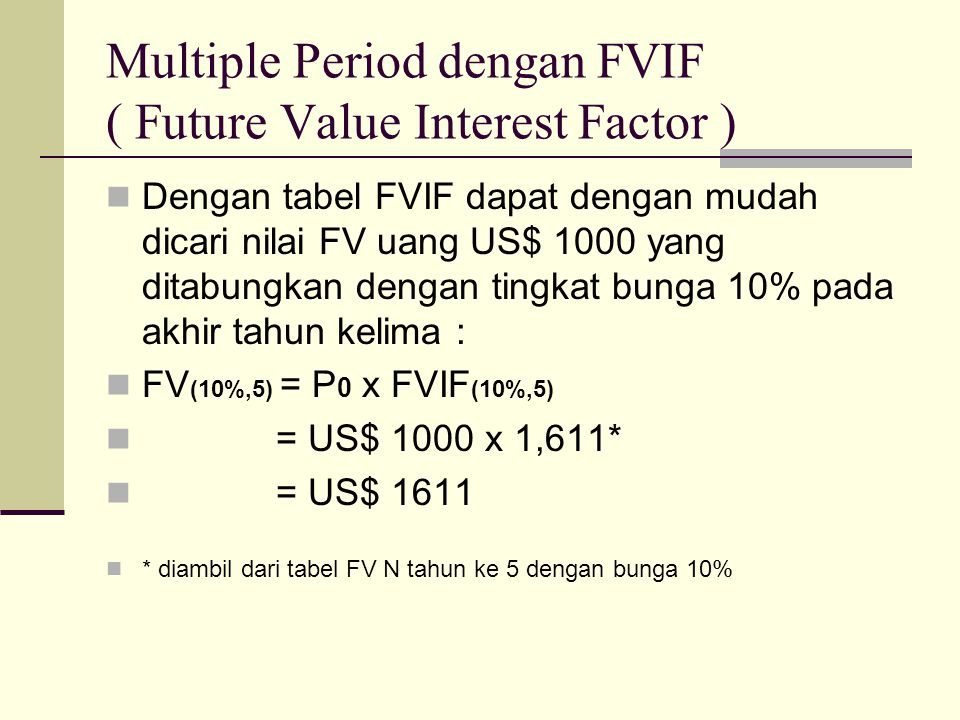Multiple Period dengan FVIF ( Future Value Interest Factor )