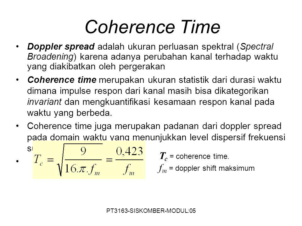 Coherence Time Tc = coherence time. fm = doppler shift maksimum