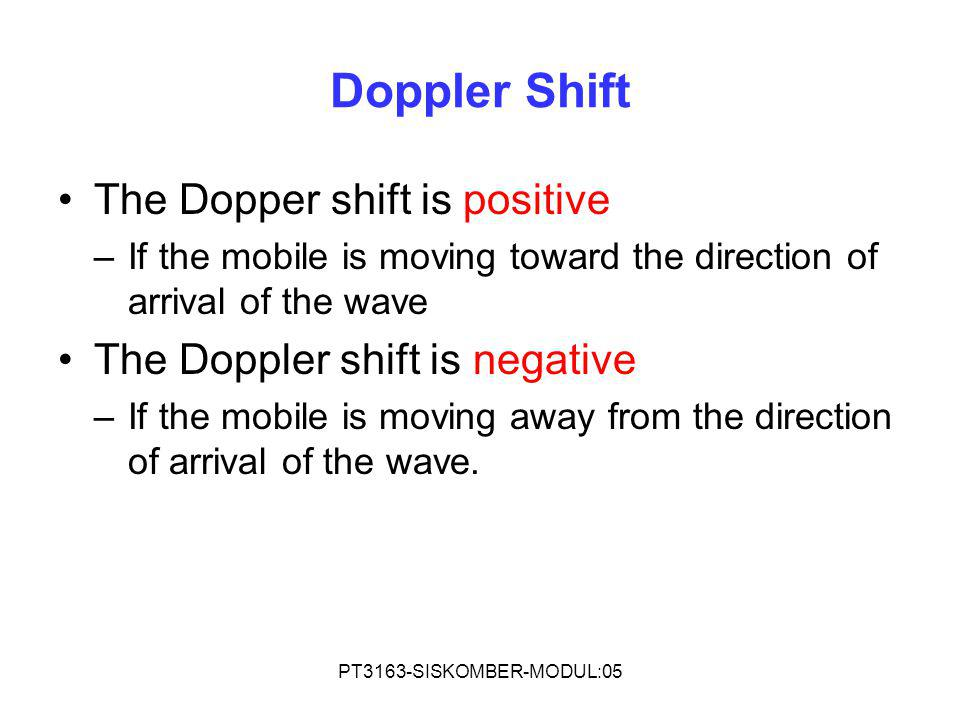 Doppler Shift The Dopper shift is positive