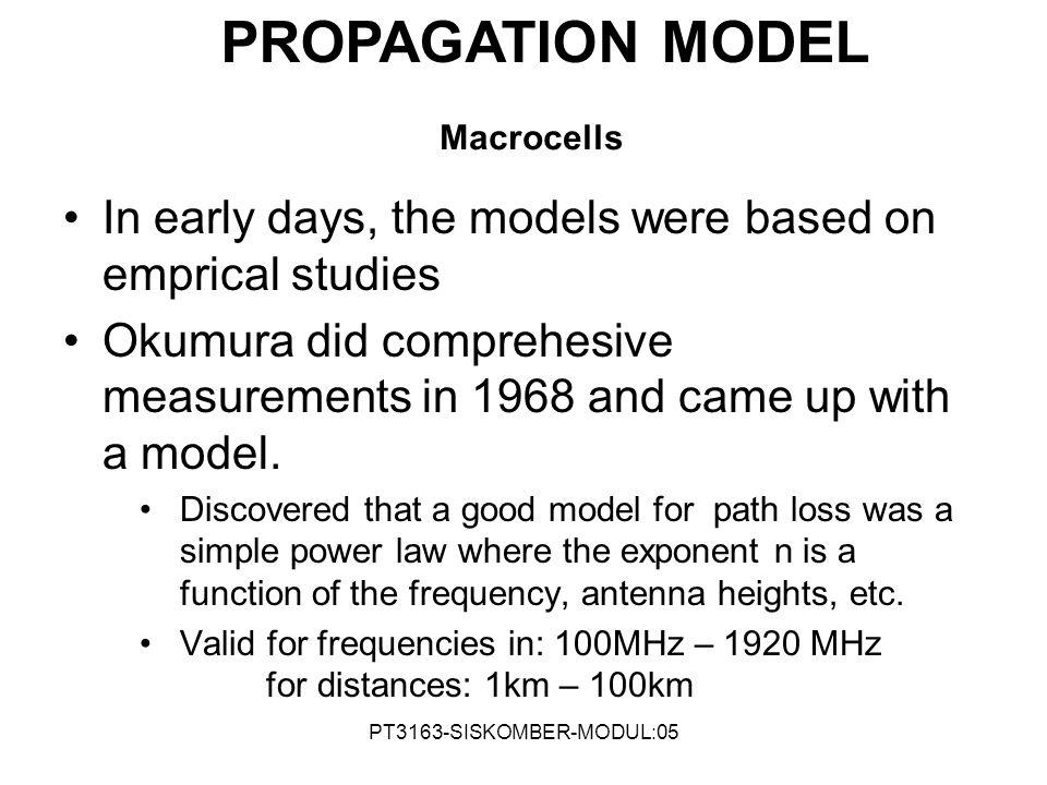 PROPAGATION MODEL Macrocells. In early days, the models were based on emprical studies.