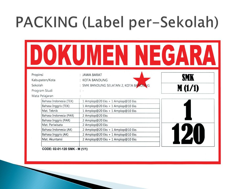 PACKING (Label per-Sekolah)