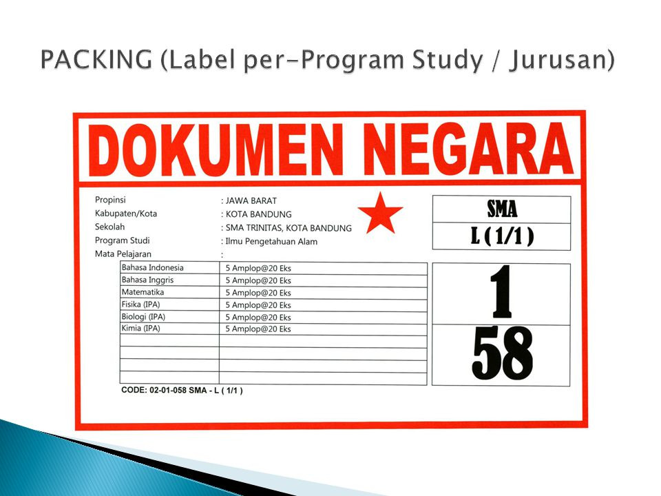 PACKING (Label per-Program Study / Jurusan)