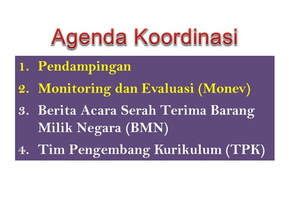 Agenda Koordinasi Pendampingan Monitoring dan Evaluasi (Monev)