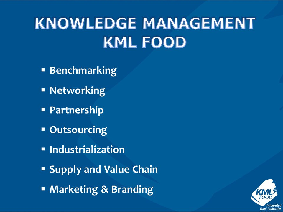 KNOWLEDGE MANAGEMENT KML FOOD