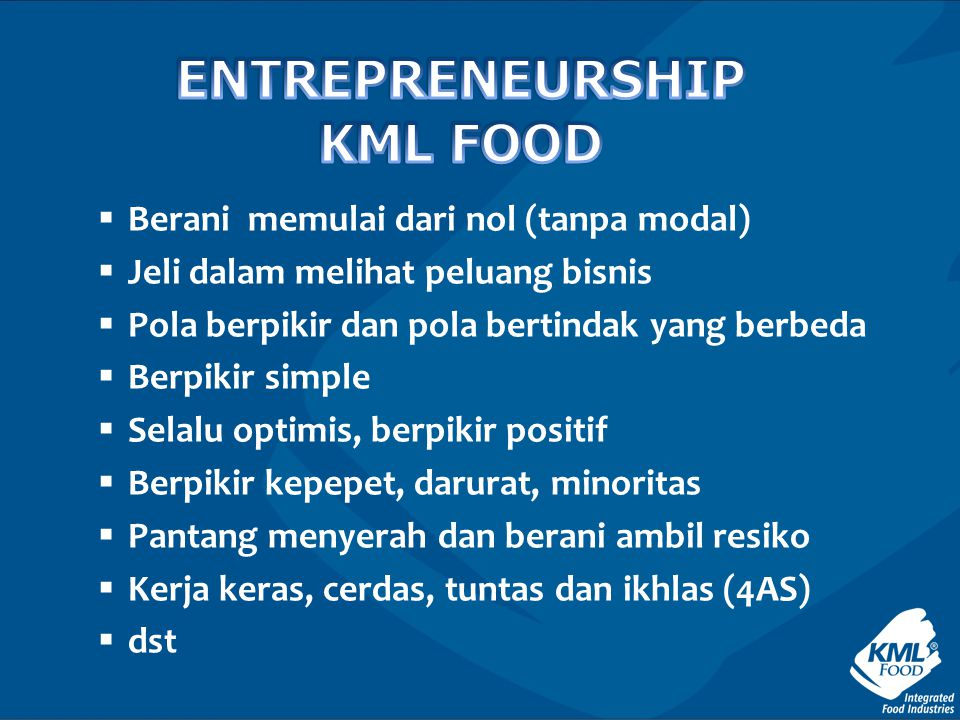 ENTREPRENEURSHIP KML FOOD
