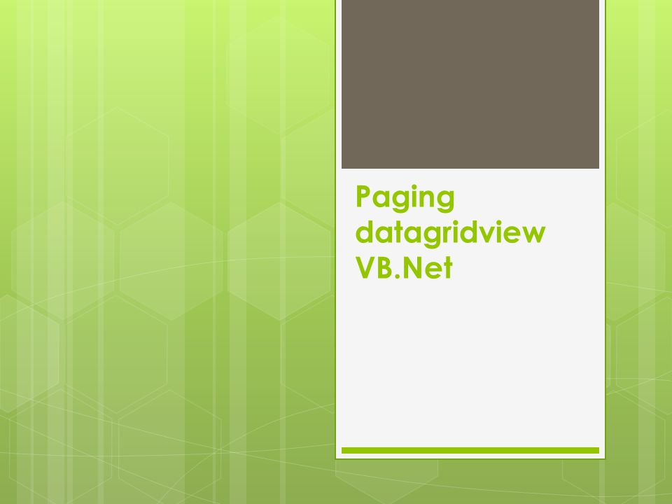 Paging datagridview VB.Net