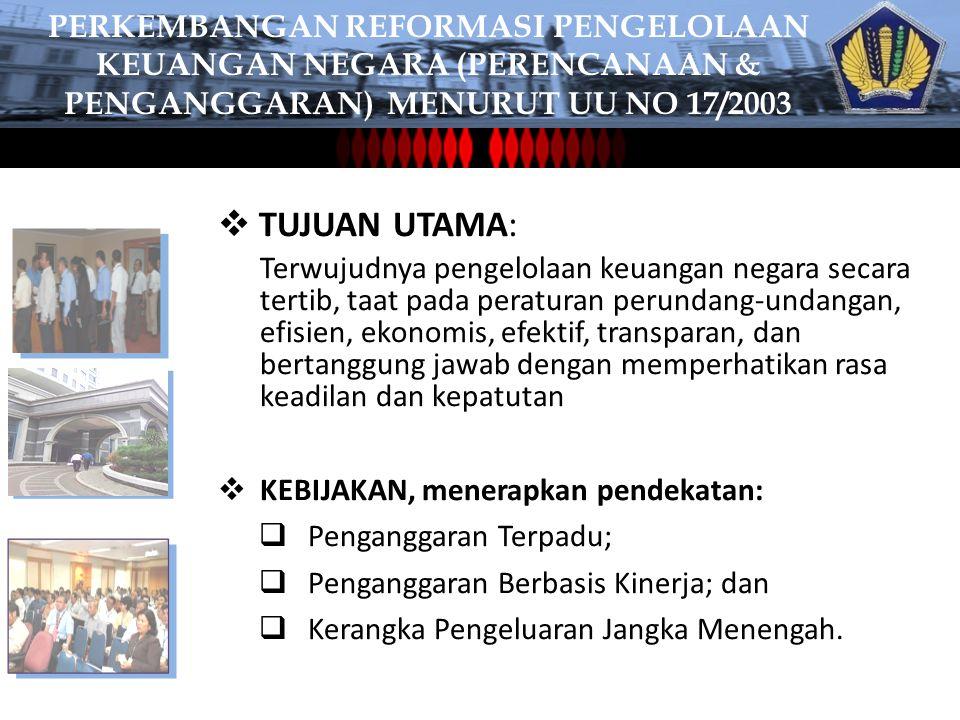 PErKEMBANGAN REFORMASI PENGELOLAAN KEUANGAN NEGARA (perencanaan & penganggaran) MENURUT UU NO 17/2003