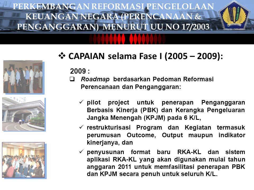 CAPAIAN selama Fase I (2005 – 2009):