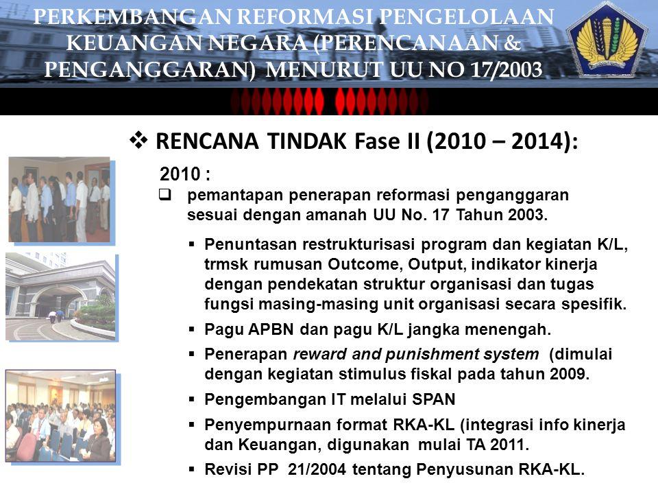 RENCANA TINDAK Fase II (2010 – 2014):