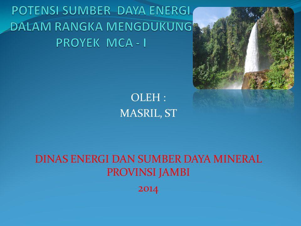POTENSI SUMBER DAYA ENERGI DALAM RANGKA MENGDUKUNG PROYEK MCA - I