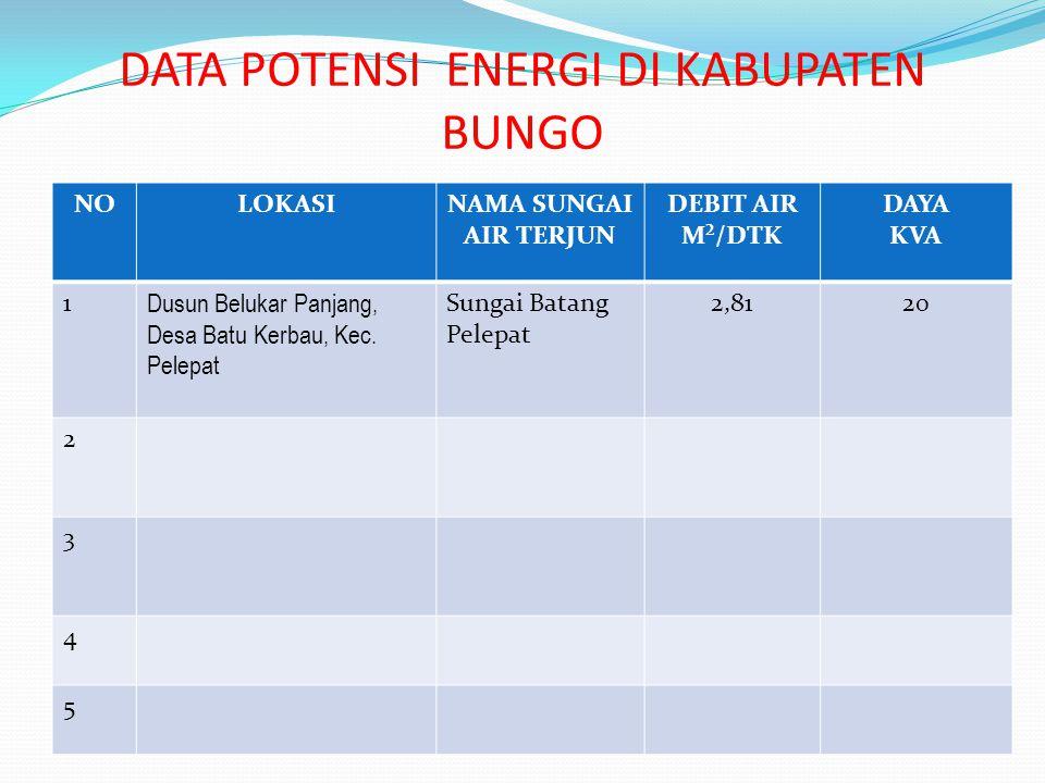 DATA POTENSI ENERGI DI KABUPATEN BUNGO
