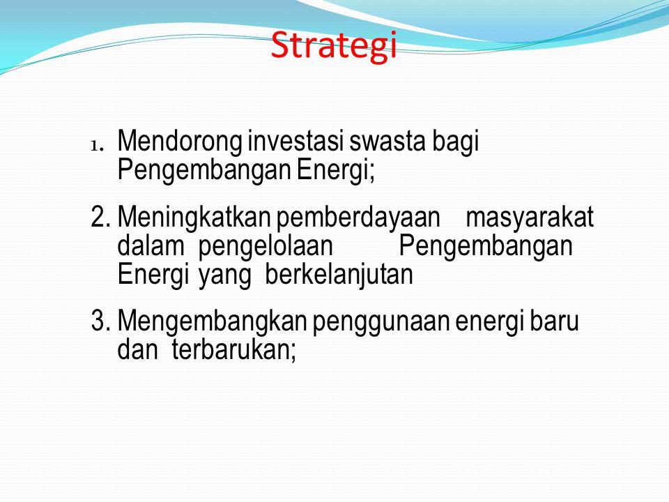 Strategi 1. Mendorong investasi swasta bagi Pengembangan Energi;