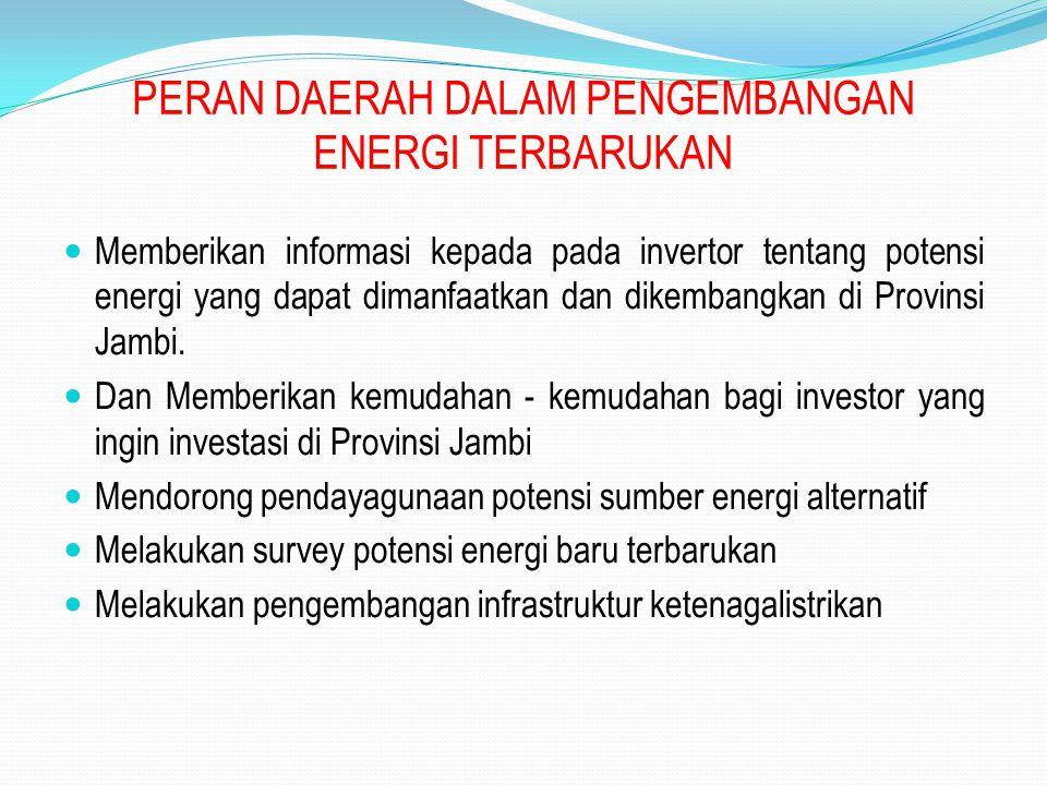 PERAN DAERAH DALAM PENGEMBANGAN ENERGI TERBARUKAN
