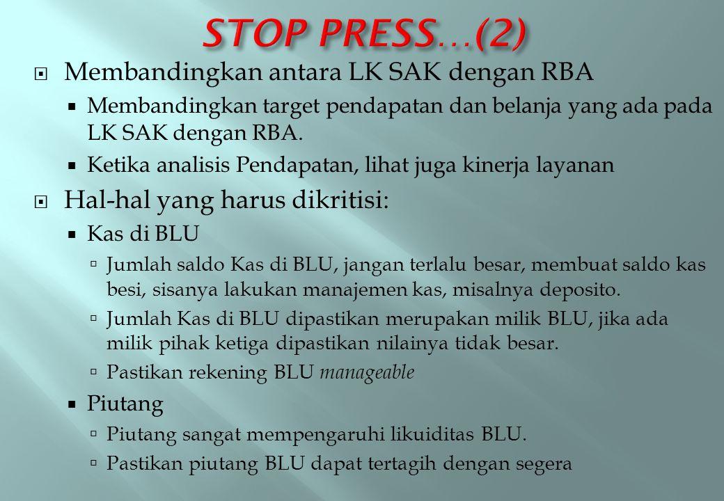 STOP PRESS…(2) Membandingkan antara LK SAK dengan RBA