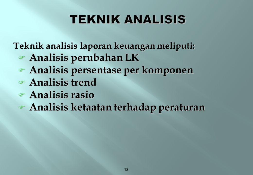TEKNIK ANALISIS Analisis perubahan LK Analisis persentase per komponen