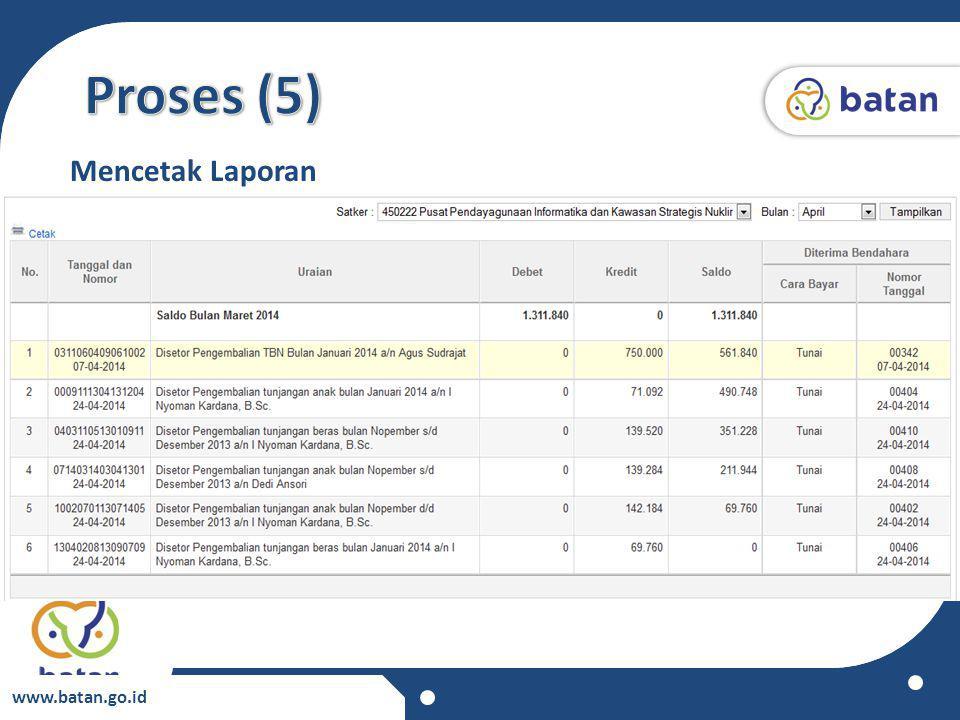 Proses (5) Mencetak Laporan www.batan.go.id