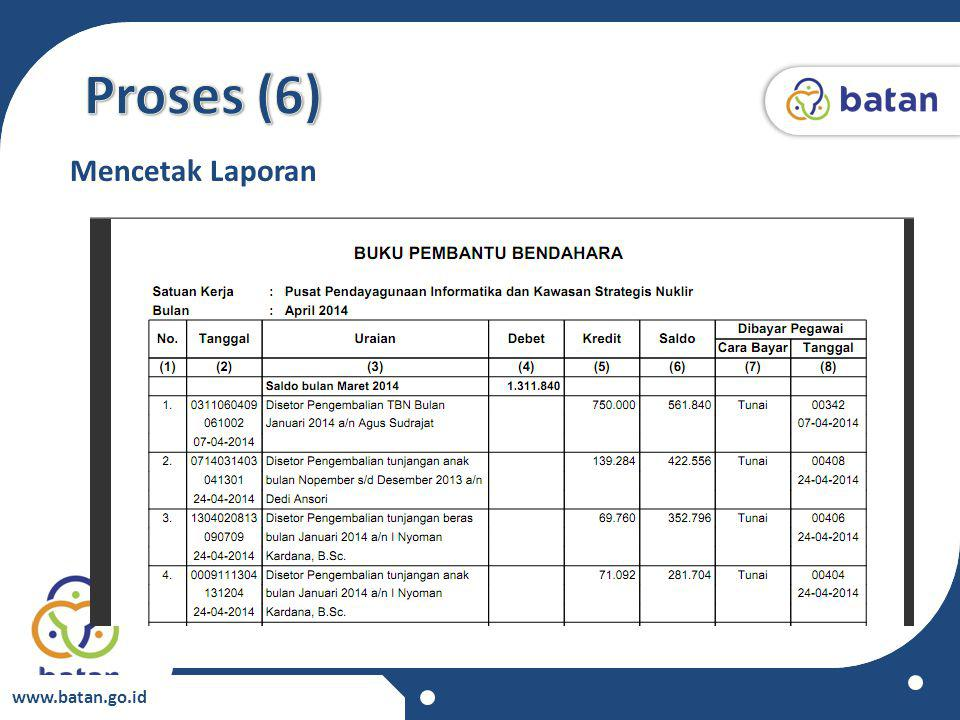 Proses (6) Mencetak Laporan www.batan.go.id