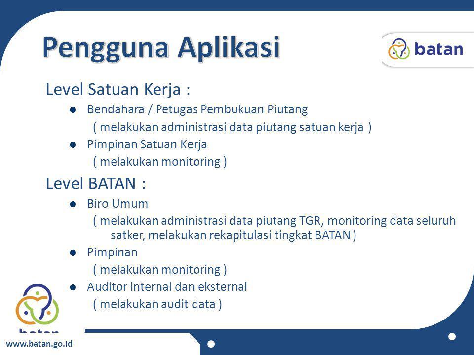 Pengguna Aplikasi Level Satuan Kerja : Level BATAN :