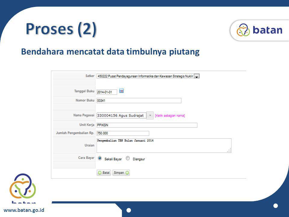 Proses (2) Bendahara mencatat data timbulnya piutang www.batan.go.id