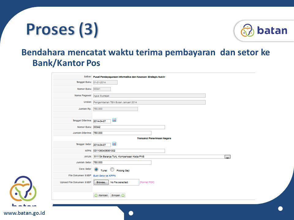 Proses (3) Bendahara mencatat waktu terima pembayaran dan setor ke Bank/Kantor Pos www.batan.go.id