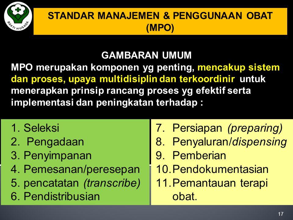 STANDAR MANAJEMEN & PENGGUNAAN OBAT (MPO)