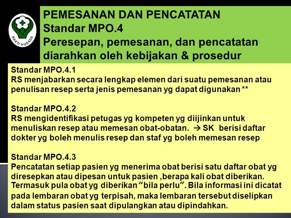 PEMESANAN DAN PENCATATAN Standar MPO.4