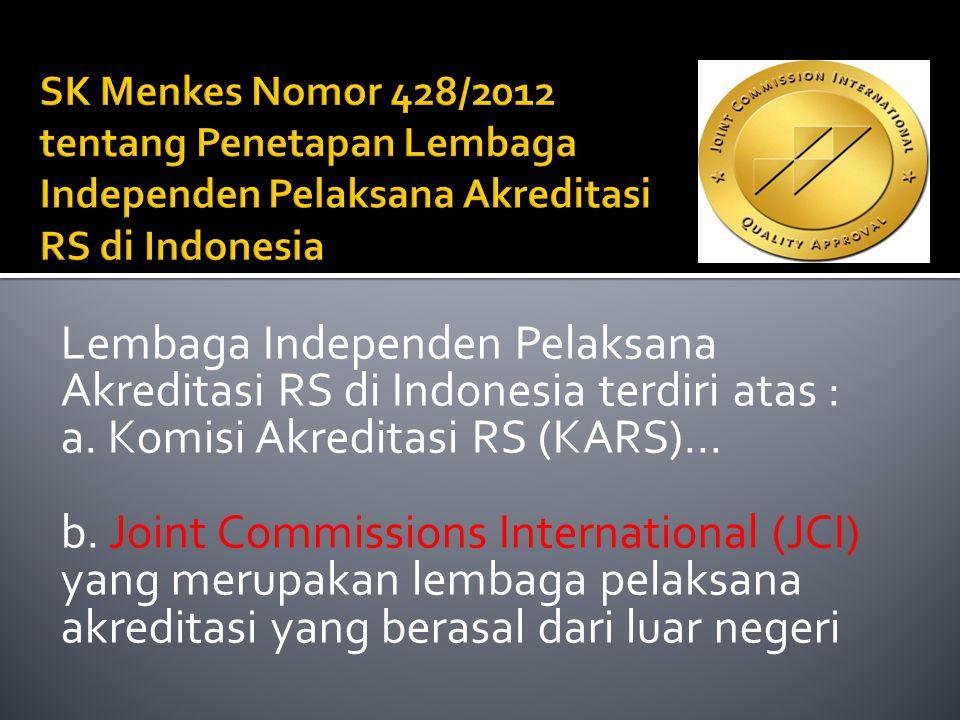 Lembaga Independen Pelaksana Akreditasi RS di Indonesia terdiri atas :