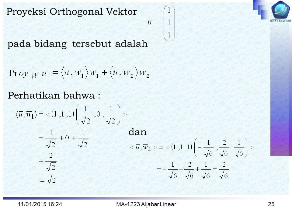 Proyeksi Orthogonal Vektor