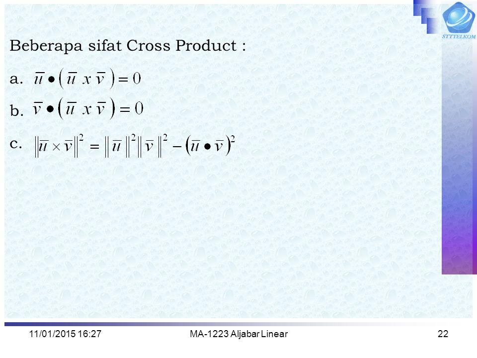 Beberapa sifat Cross Product : a. b. c.