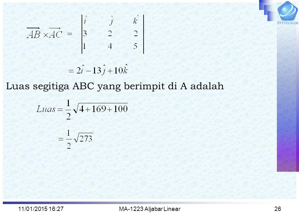 Luas segitiga ABC yang berimpit di A adalah