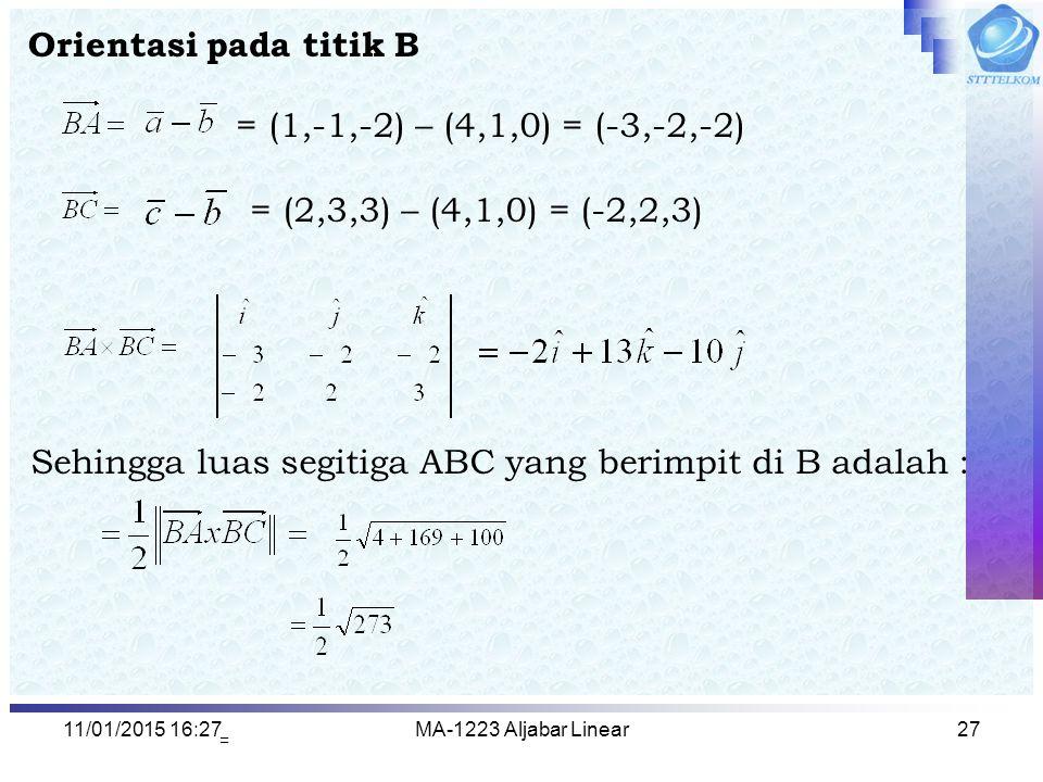 Sehingga luas segitiga ABC yang berimpit di B adalah :