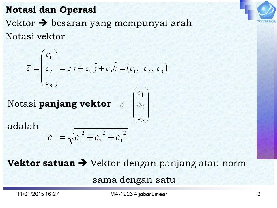 Vektor  besaran yang mempunyai arah Notasi vektor