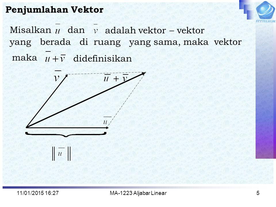 yang berada di ruang yang sama, maka vektor