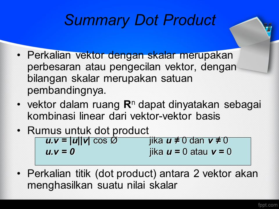 Summary Dot Product