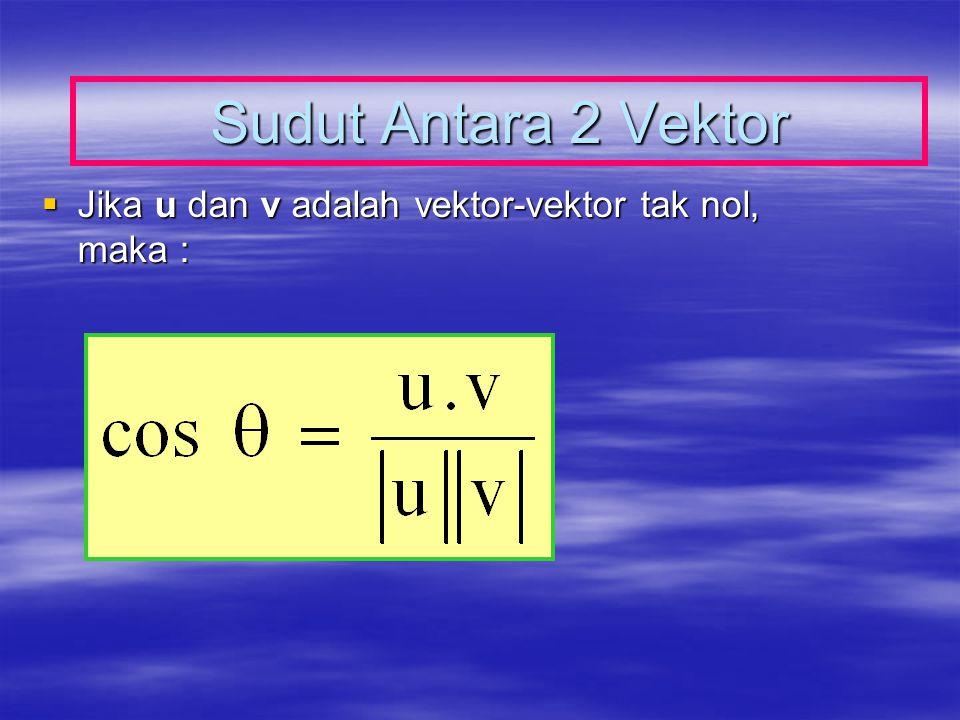 Sudut Antara 2 Vektor Jika u dan v adalah vektor-vektor tak nol, maka :