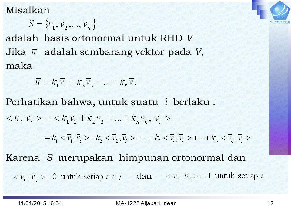 adalah basis ortonormal untuk RHD V