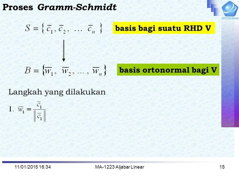 Proses Gramm-Schmidt basis bagi suatu RHD V basis ortonormal bagi V